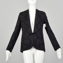 Small 1970s Gino Paoli Black Knit Cardigan Chenille Applique