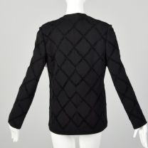 Small 1970s Gino Paoli Black Knit Cardigan Chenille Applique  - Fashionconstellate.com