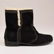 sz 6.5 Black Ankle Boots 1980s Faux Shearling Lined Black Suede Winter Rubber Tread