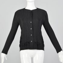 Medium Issey Miyake 1990s Cardigan Black Pleated Designer Faux Fur Lightweight Cardigan Sweater