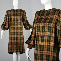 Large 1980s Dress Galanos Gold and Green Silk Shift Long Bishop Sleeves Pleated Cuffs