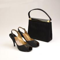 Size 6 1960s Shoes and Handbag Set Slingback Shoes Peep toe Shoes Black Satin Matching Set High Heel