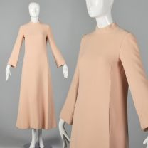 Small George Halley Blush Minimalist Evening Gown Long Sleeve Winter Wedding Dress Elegant Modest