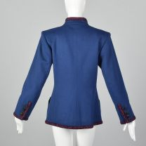 Medium 1980s Jacket Yves Saint Laurent Rive Gauche Blue with Red Braided Trim Standing Collar - Fashionconstellate.com