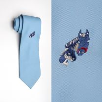 1970s Necktie Baby Blue Navy Embroidered Horses Mare Foal Equestrian