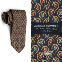 1990s Brooks Brothers Necktie Silk Horse Shoes Bits Classic Style