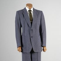 40R Large Mens 1970s Blue Suit Two Piece Woven Tweed Black Label Blazer Jacked Flat Front Pants