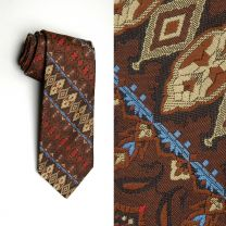 1970s Wide Necktie Brown Tan Red Blue Tapestry Style Woven Boho