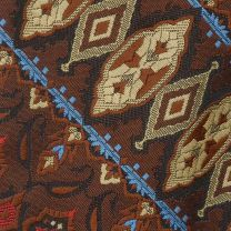 1970s Wide Necktie Brown Tan Red Blue Tapestry Style Woven Boho - Fashionconstellate.com