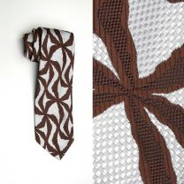 1970s Wide Necktie Psychedelic Op Art Brown White Woven Polyester