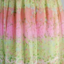 Small 1970s Dress Carrie Couture Green Pink Pastel Chiffon Beaded Waist Long Sleeve Maxi Dress - Fashionconstellate.com