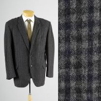 42R Large Mens 1960s Blazer Gray Navy Blue Check Plaid Rockabilly Jacket Sportcoat
