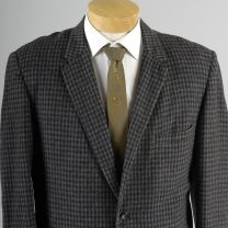 42R Large Mens 1960s Blazer Gray Navy Blue Check Plaid Rockabilly Jacket Sportcoat - Fashionconstellate.com