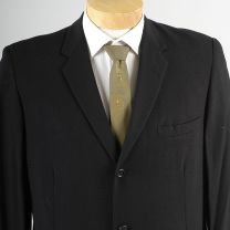 40L Medium Mens 1950s Textured Black Blazer Three Button Slim Lapel Jacket Sportcoat  - Fashionconstellate.com
