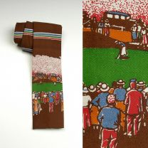 1970s Square Bottom Novelty Golf Theme Rooster Necktie