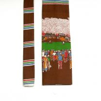 1970s Square Bottom Novelty Golf Theme Rooster Necktie  - Fashionconstellate.com