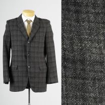 40L Medium Mens 1950s Blazer Gray Charcoal Windowpane Plaid Tweed Jacket Sportcoat