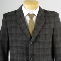 40L Medium Mens 1950s Blazer Gray Charcoal Windowpane Plaid Tweed Jacket Sportcoat - Fashionconstellate.com