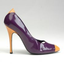 sz 39 Purple Patent Pumps 1990s Yellow Cap Toe Stiletto Heels Shoes