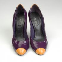 sz 39 Purple Patent Pumps 1990s Yellow Cap Toe Stiletto Heels Shoes - Fashionconstellate.com