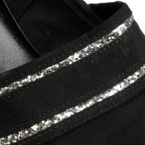 sz 6 Black Court Shoes 1960s Round Toe Chunky Heel Sliver Glitter Heels Pump - Fashionconstellate.com