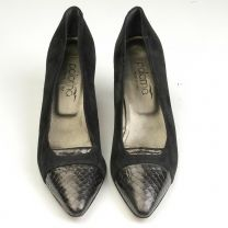 sz 8.5 AA Black Pumps 1990s Suede Embossed Snake Skin Cap Toe Heels Shoes  - Fashionconstellate.com