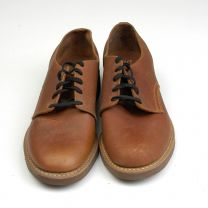 Size 6 1960s Deadstock Brown Leather Derby Oxford Lace Up Shoes Cork Crepe Sole - Fashionconstellate.com