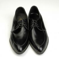 1960s Black Leather Oxford Welted Derby Shoes Lace Up Pointed Toe - Fashionconstellate.com