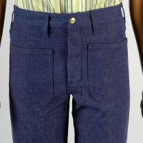 30 x 34 1970s Sanforized High Rise Indigo Dark Denim Jeans Bell Bottoms - Fashionconstellate.com