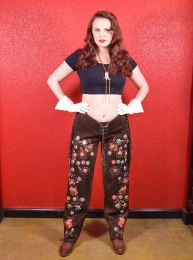 Vintage Double D Ranch Hand Embroidered Chaps with Bottlecaps - Fashionconstellate.com