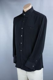 Size L Black Rayon Custom Mans Shirt,  Mr Hongs Custom Tailor, Chest 44