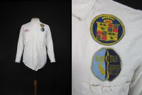 Vintage Cadillac Oldsmobile Mechanic Shirt Service Station White Twill Uniform - Medium