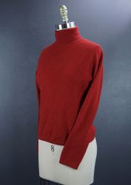 Red Cashmere Pullover High Neck Sweater, Size Medium Sweater