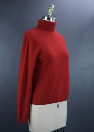 Red Cashmere Pullover High Neck Sweater, Size Medium Sweater - Fashionconstellate.com