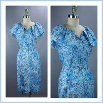 Vintage 50s Blue Floral Dress, Zip Front Flowered Dress by Roseweb  - Fashionconstellate.com
