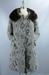 Vintage 60s Taupe Tapestry Coat w/ Mink Collar by Stylecraft - Fashionconstellate.com