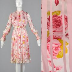 Medium 1970s Christian Dior Floral Stripe Dress Pink Long Sleeve