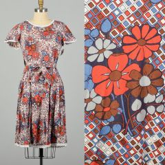 Small-Large 1960s Orange and Blue Geometric and Floral Wrap Dress
