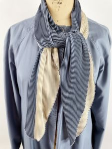 1980s trench coat reversible rain coat steel blue and ivory with attached pleated scarf  - Fashionconstellate.com
