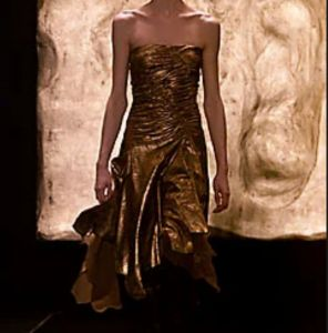 Small 2001 Donna Karan Runway Leather Dress Ruched Bodice Sexy Gold Suede Designer  - Fashionconstellate.com