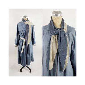 1980s trench coat reversible rain coat steel blue and ivory with attached pleated scarf