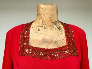 1940s Red Rayon Crepe Beaded Cocktail Top, Short Sleeve Crimson Blouse, Medium 40'' Bust - Fashionconstellate.com