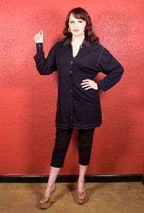 1970s Jean Muir Black Tunic Blouse