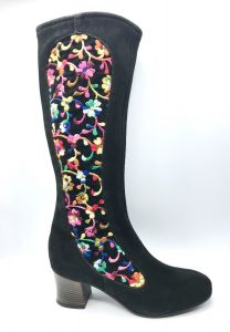 1970s Deadstock Boho Floral Embroidered Brown Suede Boots, Penny Lane Almost Famous US Size 7 1/2 - Fashionconstellate.com