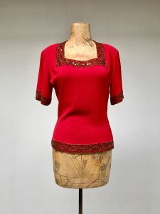 1940s Red Rayon Crepe Beaded Cocktail Top, Short Sleeve Crimson Blouse, Medium 40'' Bust