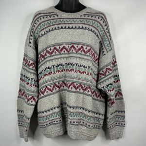 1990s Gray Green Red Geometric Pullover Sweater Size 2X Big