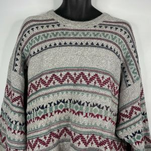 1990s Gray Green Red Geometric Pullover Sweater Size 2X Big - Fashionconstellate.com