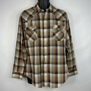 1970s Brown Blue Plaid Gold Metallic Pearl Snap Western Shirt Size Large