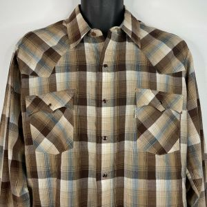 1970s Brown Blue Plaid Gold Metallic Pearl Snap Western Shirt Size Large - Fashionconstellate.com