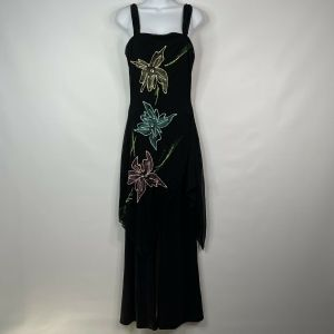 1990s Disco Inspired Black Painted Floral Sheer Overlay Wide Leg Jumpsuit Size Small